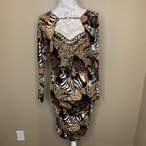 Boston Proper Embellished Animal Print Dress